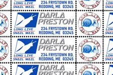 Snail Mail - Custom Return Address Stamps  Sheet of 40 - Dry-Gummed & Perforated