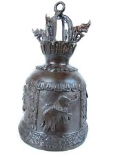 """Rare Thai Temple Bell - Large Bronze Buddhist Antique Elephant Bell 9"""" Tall"""