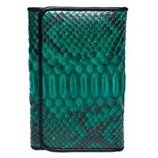 Hot! Fairy-Leather Genuine Python Belly Snake Skin Leather Trifold Wallet Green