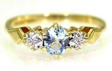 Aquamarine & Diamond Trilogy 9ct Yellow Gold Ring size L 1/2 ~ 6