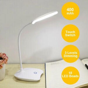 UK Dimmable USB Rechargeable LED Desk Lamp Bed Reading Table Study Light NEW