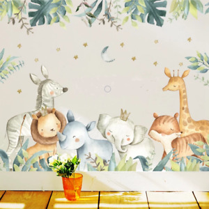 Safari Jungle Animals Wall Sticker Bedroom Nursery Decals Kids Room Removable AU