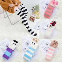 Women Winter Knee Thigh High Thick Stockings Fleece Cute Cartoon Christmas Socks