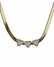 NEW ROMAN LUXE 14k Gold-Plated Crystal Arrow Herringbone Choker Necklace $90