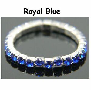 Women Ladies beautiful Rings Band Stretchy Rhinestone -Diamante Czech Finger UK