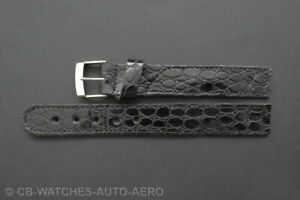 Quality Black Croc Leather Vintage Style Open-Ended Watch Strap 16mm 18mm 20mm