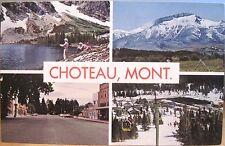 Montana Postcard CHOTEAU Multiview Chinese Wall Fishing Ski Area Downtown 1960s