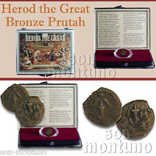 HEROD THE GREAT - 2000 Year Old Ancient Jewish Bronze Prutah Biblical Coin JUDEA