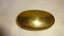 Vintage Brass Oval Railway Workers Snuff / Tobacco Tin GWR Cardiff 1934