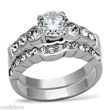 Wedding Engagement Ladies Ring Set 2.3ct Round Cz Silver Stainless Steel