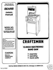 "Craftsman 12"" Bandsaw Operators Manual 113.247410"