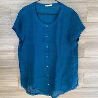 Eileen Fisher Women's Organic Linen Button Down Short Sleeve Shirt sz XL