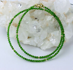Chromdiopsid Necklace Faceted Green Precious Stone Gift 17 7/8in Long