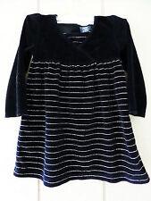 Girls 3T Black Velvet Dress Long Sleeve Silver Pinstripes