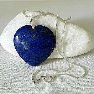 """GIFTS FOR HER-104ct NATURAL Blue Lapis Lazuli PENDANT & silver plt 18"""" Necklace"""
