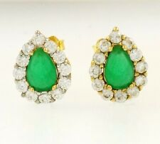9Ct Yellow Gold Emerald & Simulated Diamond Stud Earrings (8x10mm)