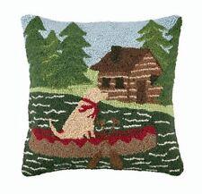 "Log Cabin Yellow Labrador Retriever Dog 16"" X 16"" Wool Hooked Throw Pillow"