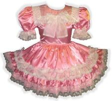 """""""Lucille"""" Custom Fit PINK Satin Organza BOWS Adult Baby LG Sissy Dress LEANNE"""