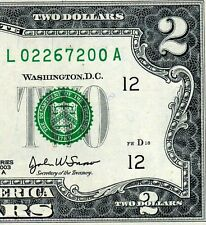 2003-A $2 FRN (( Birthday Note )) February 26, 1972 Uncirculated # L02267200A