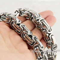 HEAVY 15MM Chain Silver Byzantine Link Stainless Steel Men's HUGE Bracelet 8~12'