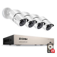 ZOSI Full HD 1080P 8CH DVR 2TB HDD 2MP Outdoor CCTV Home Security Camera System