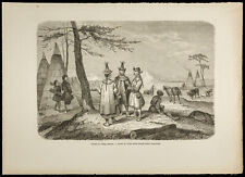 1860 - Village Yakut (Iakoute) - Siberia, Russia - Engraving on Wood