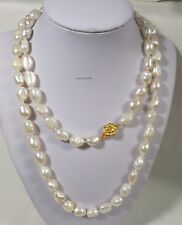 Genuine silver 9-10mm baroque freshwater pearls necklace L90cm