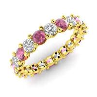 Naturel 2.03 CT Saphir Rose Anneau Mariage Diamant Rond 14K or Jaune Taille M