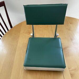 Vintage Green & White Folding Cushion Sports Bleacher Boat Chair Stadium Seat