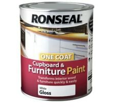 Ronseal One Coat Cupboard & Furniture Paint White Gloss 750ml -Fast Shipping