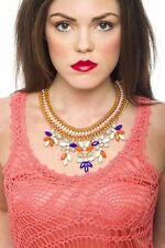 Statement Necklace Neon Braided With Gem Leaf Drops Necklace Pendant Fashion