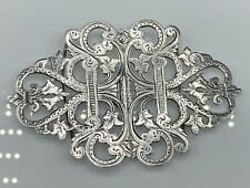 Superb Victorian Birmingham 1898 Hallmarked Solid Silver Nurses Belt Buckle 40g