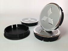 MITSUBISHI 4pcs Plastic Wheel Centre Caps with Alu Emblem 60mm/55mm NEW