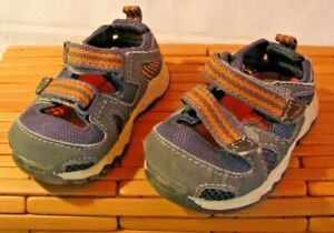 Teeny Toes Baby shoes Size 3 Sneakers Gray w/ orange Mesh water & Sand summer