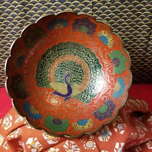 Vintage ENESCO Solid Brass Painted Peacock Bowl Made in India