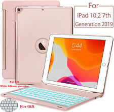 """For Apple iPad 10.2"""" 7th Gen Backlit Aluminum Keyboard Case Cover Bluetooth Hot"""