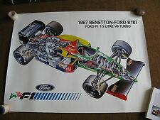 1987 F1 BENETTON  FORD POSTER BROCHURE RS racing Senna Original  mint