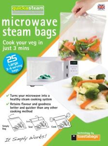 NEW QUICKSTEAM MICROWAVE STEAM BAGS LARGE PK25