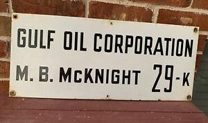 Gulf Oil Porcelain Sign Texaco Diamond Shamrock Oil And Gas Lease Sign Permian