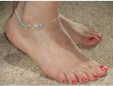 Stylish, Elegant, Gold Anklet with Infinity & Turquoise Beads Design (0114)