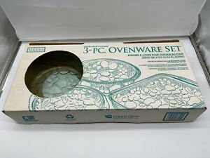 Madeira Vintage 3-Pc Ovenware Set Indiana Glass Spanish Green New in Box