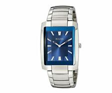 Cool Men's Watch BULOVA analog Display Quartz Silver Rectangular Wristwatch