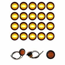 "20 NEW  3/4"" AMBER LED CLEARANCE MARKER BULLET TRUCK TRAILER LIGHTS BARE WIRES"