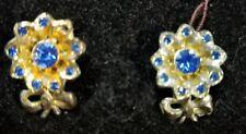 Beautiful Blue Sapphire Rhinestone Floral Vintage Earrings Old Screw Back