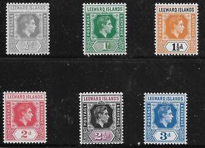 Leeward Islands Scott #120-25, Singles 1949 Complete Set FVF MH