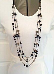 Coco London Costume Jewellery Long Necklace Black & Mixed Smokey Grey Beads MN6