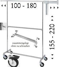 2 Etagen Kleiderständer Rollständer Kleidersange mit großen Rollen klappbar 54.2
