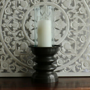 """SALE"", Candle holder/hurricane, bronze/glass, large, decorative, dining, decor"
