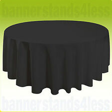"90"" Round Tablecloth Table Cover Seamless Wedding Banquet - BLACK"