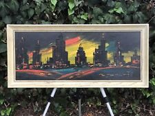 ELNE ORIGINAL MODERN ABSTRACT CUBISM Mid Century Skyline Oil on Board Cityscape